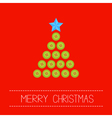 Christmas triangle tree button red back vector