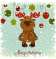 Christmas card with deer on blue background vector
