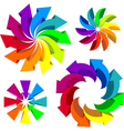 Volumetric colorful rotating arrows vector