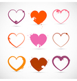 Heart set grunge pink red orange valentine symbols vector