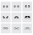 Black cartoon eyes icons set vector