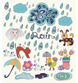 Rain cartoon background with funny elements vector