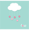 Cloud hanging rain button drops dash line love vector