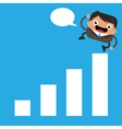 Happy business man on graph bar vector