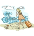 Woman with suitcase on the beach vector