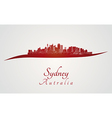 Sydney skyline in red vector