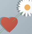 Heart and flower by st valentines day vector