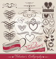 Valentines day calligraphic elements vector