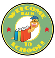 Bookworm with text back to school vector