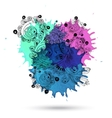 Watercolor abstract design with doodle vector