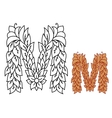 Capital letter m in an organic leaf design vector