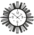 Clock with buildings vector