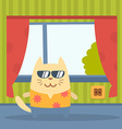 Character tourist wearing sunglasses and a shirt vector