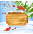 Winter landscape birds wooden board vector