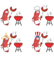 Happy sausage on picnic collection vector