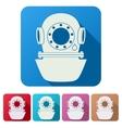 Set flat icons of underwater diving helmet vector