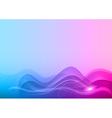 Wave neon light white blue vector