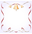 Retro frame with ribbon and bells vector