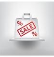 Sale concept white shop bag on the 3d vector