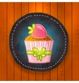Cupcake with chocolate and strawberry vector