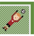 Pixel art football soccer goalkeeper in red vector