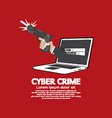 Gun in hand cyber crime concept vector
