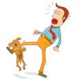 Naughty dog biting foot vector