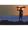 Surfer sunrise vector