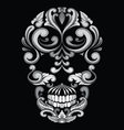 Skull ornamental indonesian style vector