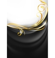 Dark gray fabric curtain gold vignette vector