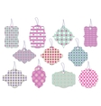 Set of cute floral tags and labels with hearts vector