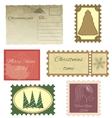 Set of vintage stamps and vintage postcard vector