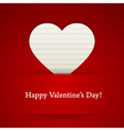 Valentines day card with paper heart vector