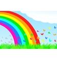 A butterfly flies through the rainbow vector