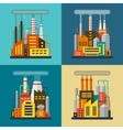 Set of flat industrial building factory and plant vector
