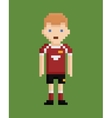 Pixel art style shows soccer player in red and vector