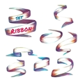 Set of colored robbons on transparent vector