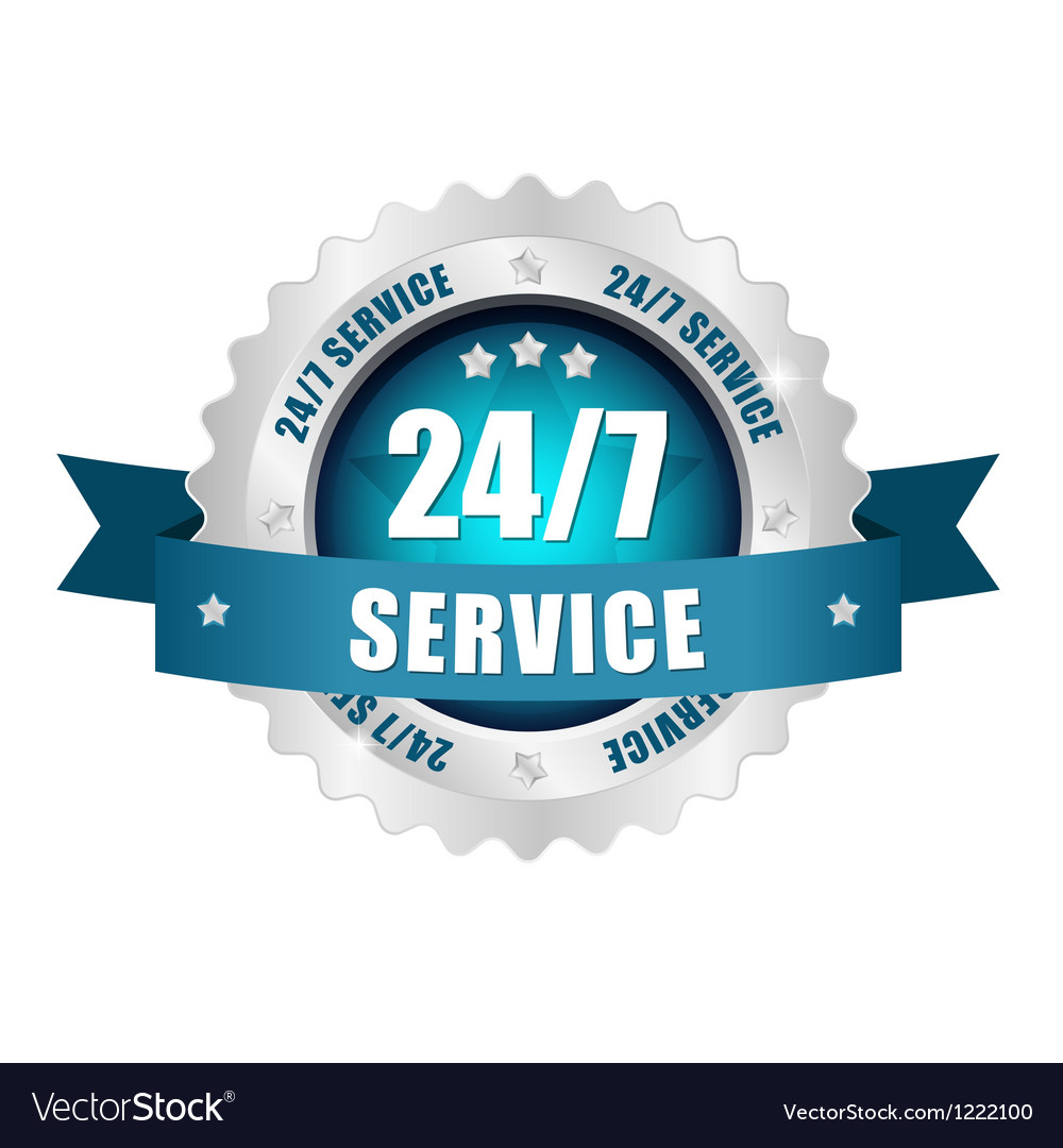 24-7 service button vector | Price: 1 Credit (USD $1)