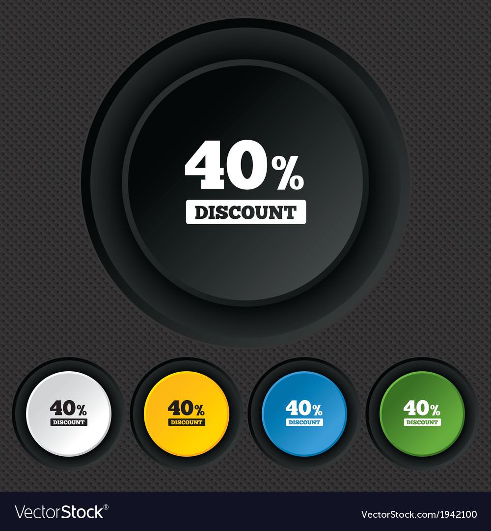 40 percent discount sign icon sale symbol vector | Price: 1 Credit (USD $1)