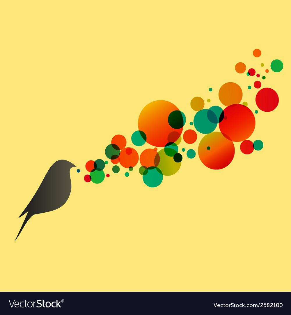 Beautiful flat silhouette of the bird vector | Price: 1 Credit (USD $1)