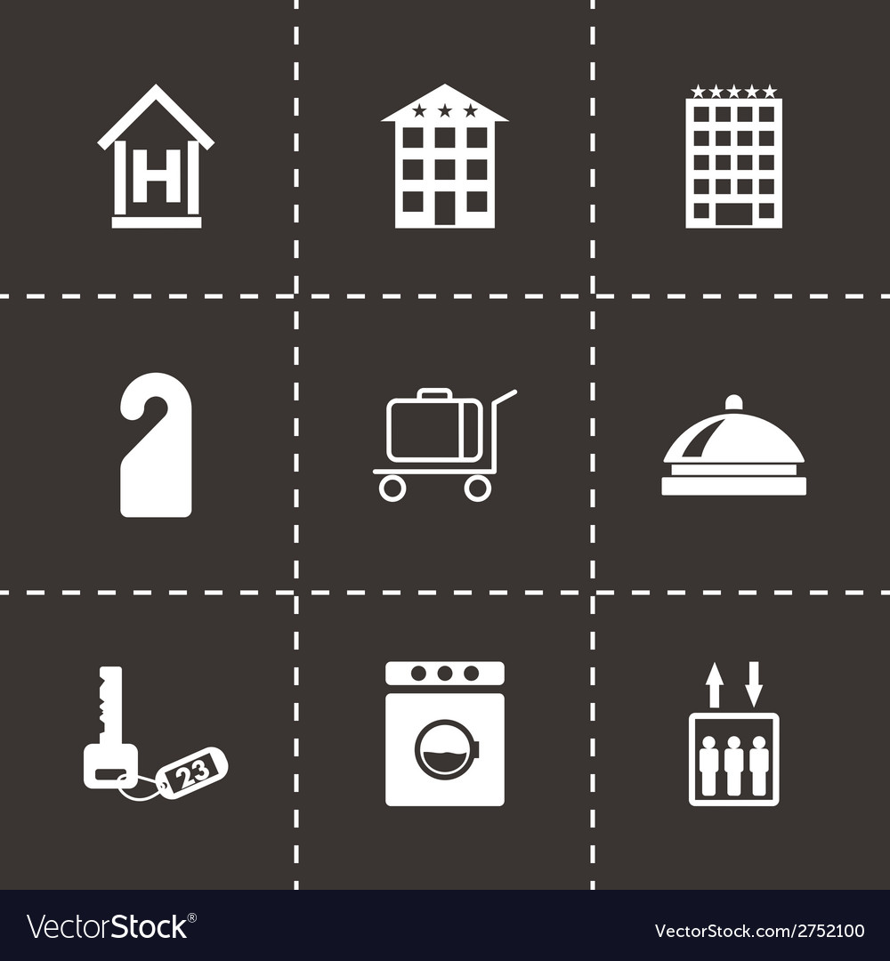 Black hotel icons set vector | Price: 1 Credit (USD $1)