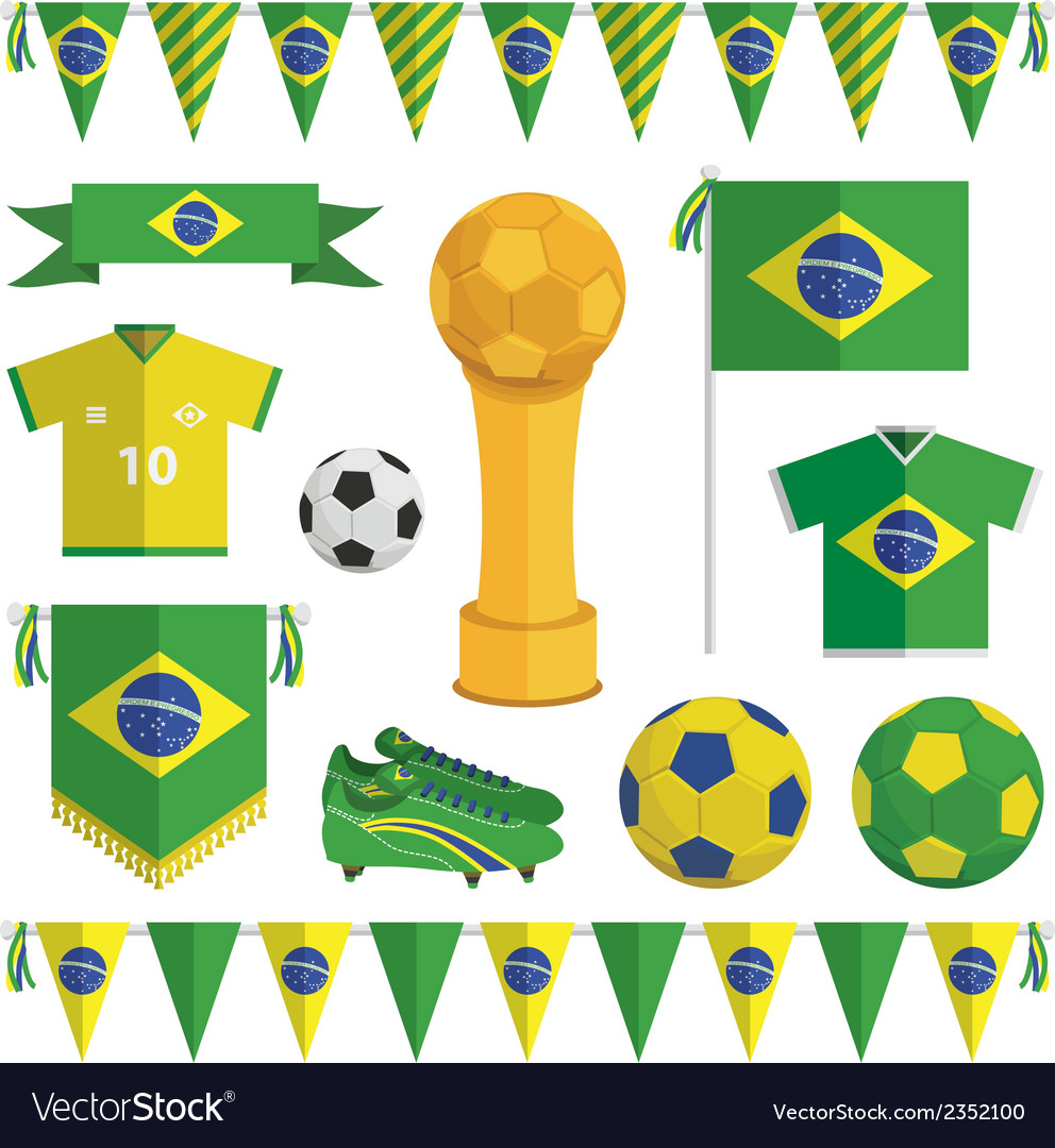 Brazil soccer objects vector | Price: 1 Credit (USD $1)