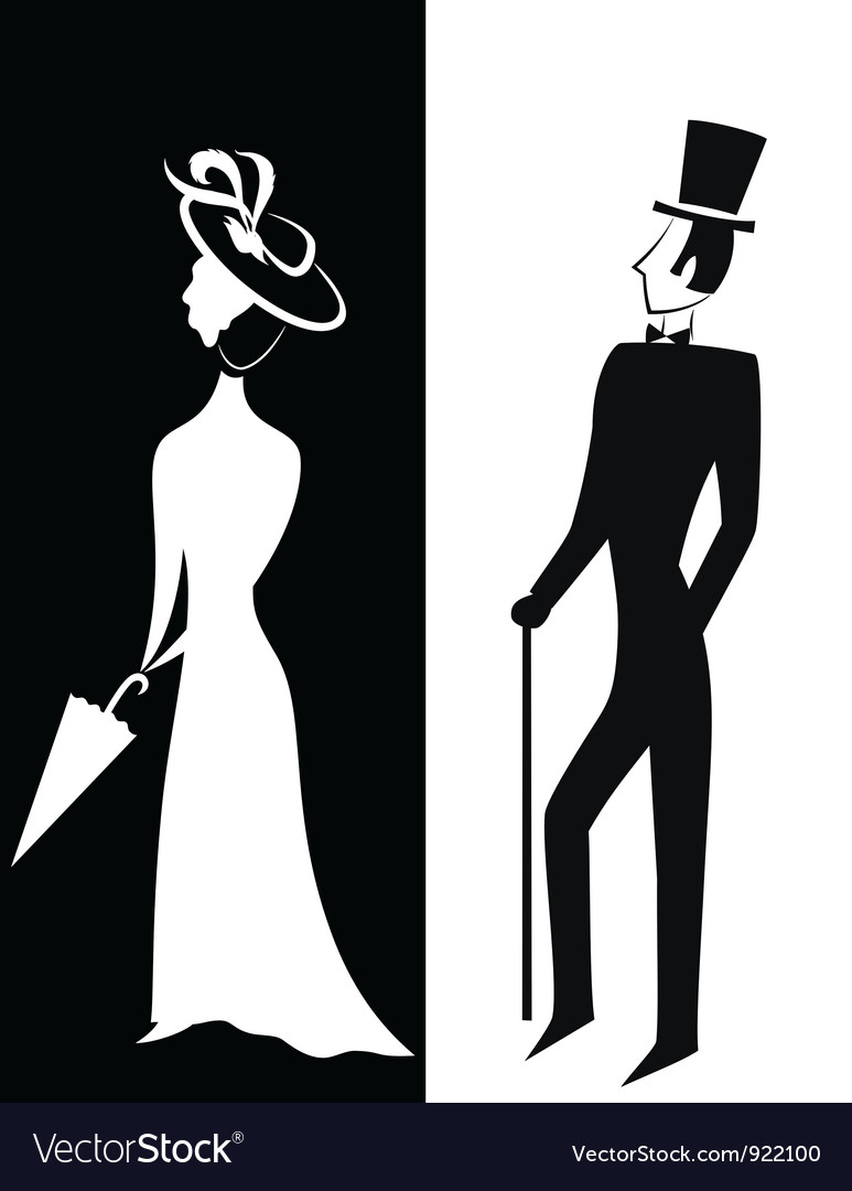Gentleman and lady silhouette vector | Price: 1 Credit (USD $1)