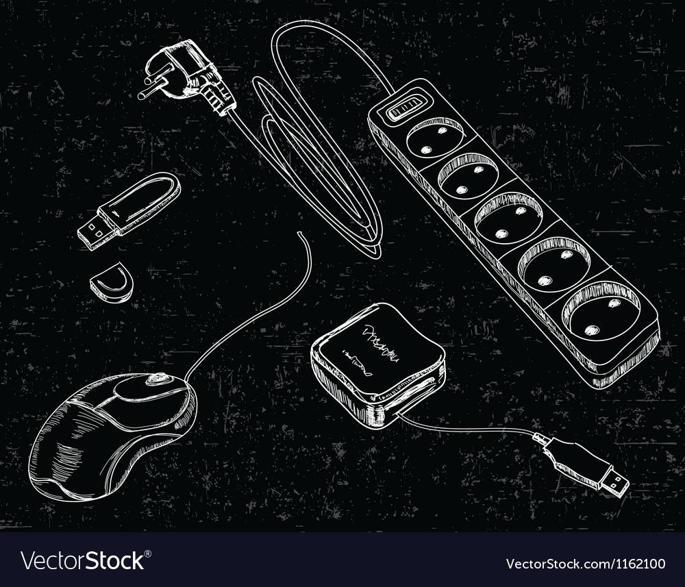 Hand drawn computer accessories vector | Price: 1 Credit (USD $1)