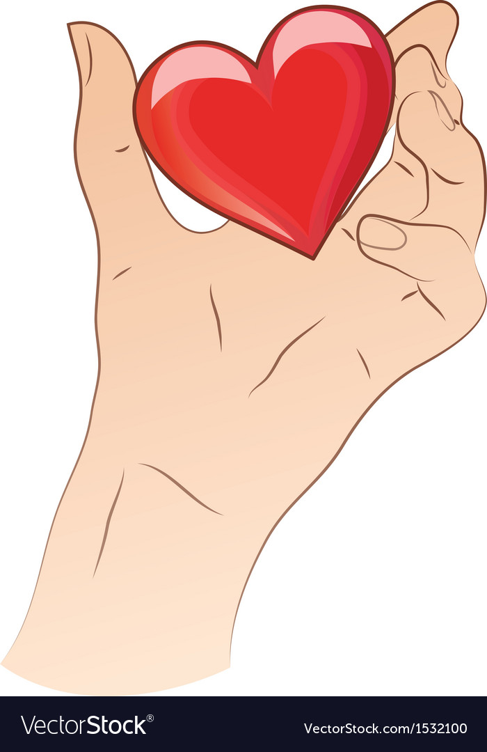Hand holding heart vector | Price: 1 Credit (USD $1)