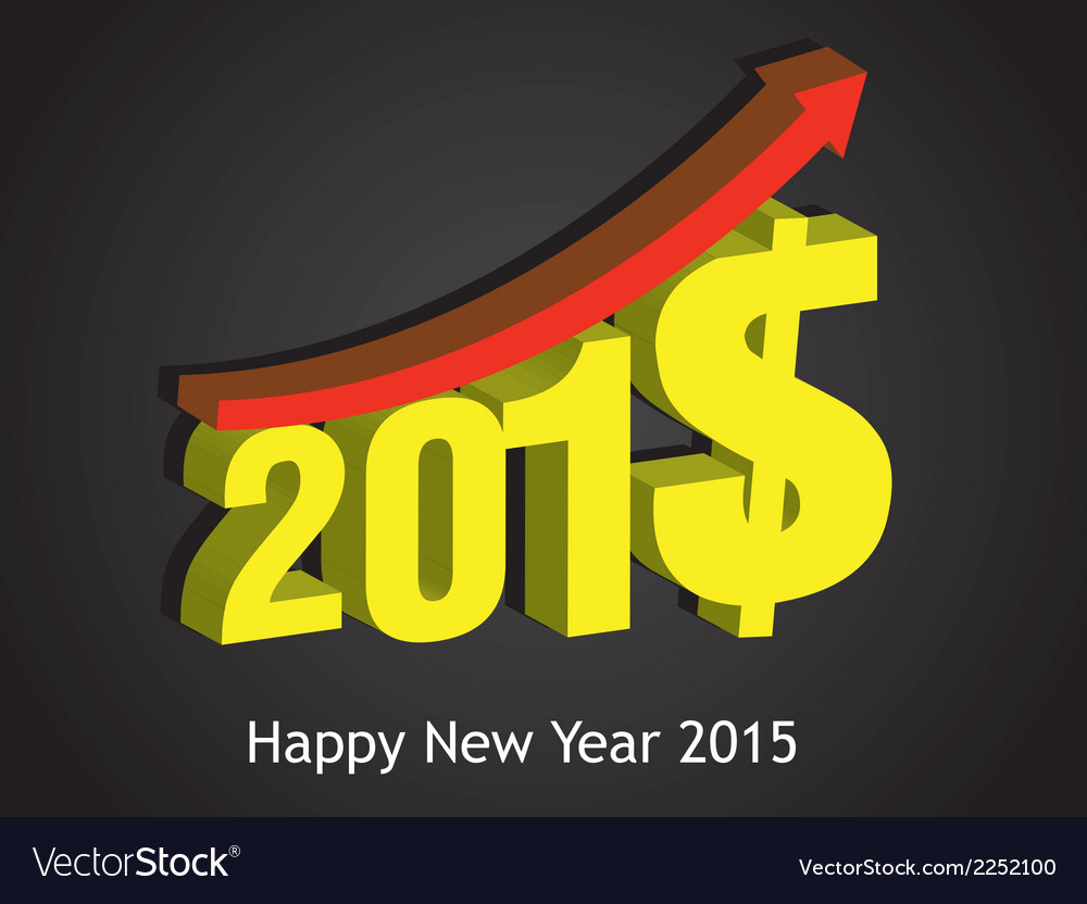 Money growth of 2015 happy new year vector | Price: 1 Credit (USD $1)