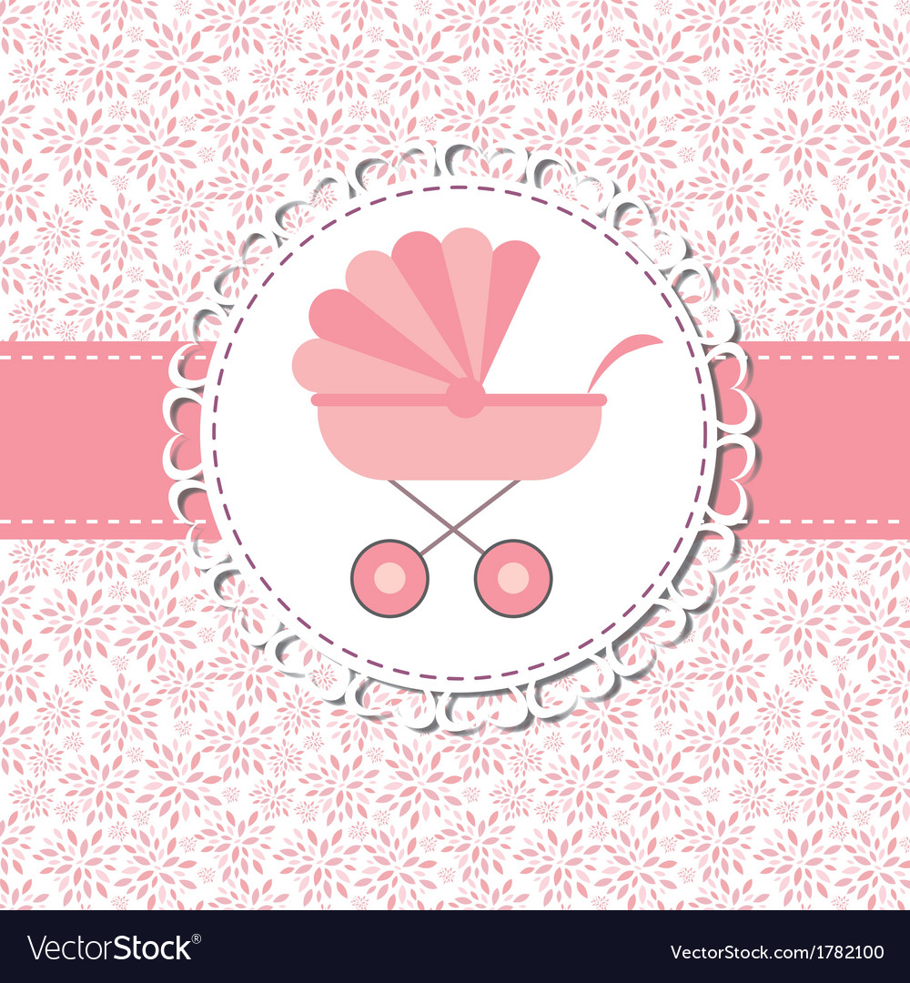 Pink baby carriage for newborn girl vector | Price: 1 Credit (USD $1)