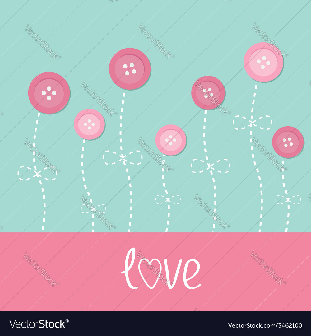 Pink button flowers dash line stem with bow love vector | Price: 1 Credit (USD $1)