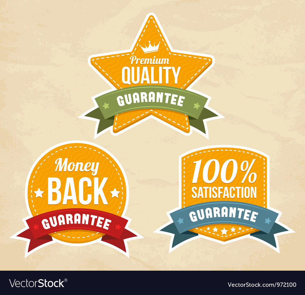 Retro guarantee labels vector | Price: 1 Credit (USD $1)