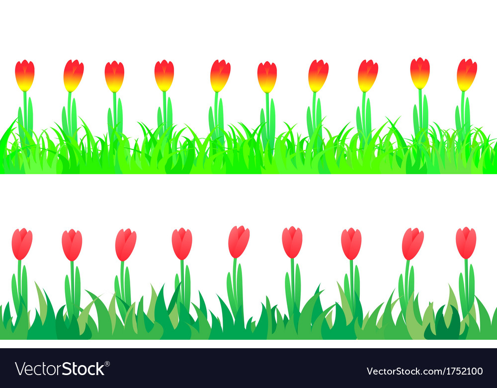Set of seamless the tulips in the grass vector   Price: 1 Credit (USD $1)